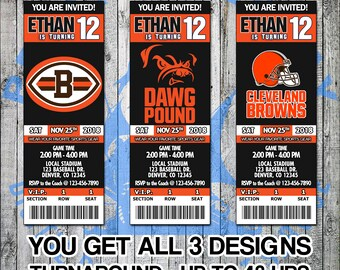 cdc9006814f5 Cleveland Browns Football Birthday Party Game Invitation Ticket - Digital  Files Only