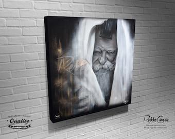 Beautiful Jewish Portrait - KING - Original Digital painting print on canvas - Chabad Lubavitcher Rabbi  Menachem Mendel Schneerson
