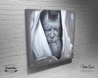 Beautiful Jewish Portrait - PRAYER - Original Digital painting print on canvas - Chabad Lubavitcher Rabbi  Menachem Mendel Schneerson