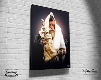 Beautiful Jewish Portrait - TORAH - Original Digital painting print on canvas - Chabad Lubavitcher Rabbi  Menachem Mendel Schneerson