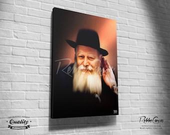Beautiful Jewish Portrait - LISTEN - Original Digital painting print on canvas - Chabad Lubavitcher Rabbi  Menachem Mendel Schneerson