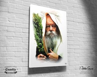 Beautiful Jewish Portrait - SUKKOS - Original Digital painting print on canvas - Chabad Lubavitcher Rabbi  Menachem Mendel Schneerson