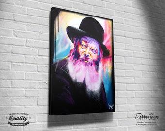 Beautiful Jewish Portrait - COLOURS - Original Digital painting print on canvas - Chabad Lubavitcher Rabbi  Menachem Mendel Schneerson