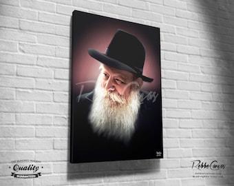 Beautiful Jewish Rabbi Portrait - BLESSING - Original Digital painting print on canvas - Chabad Lubavitcher Rebbe Menachem Mendel Schneerson