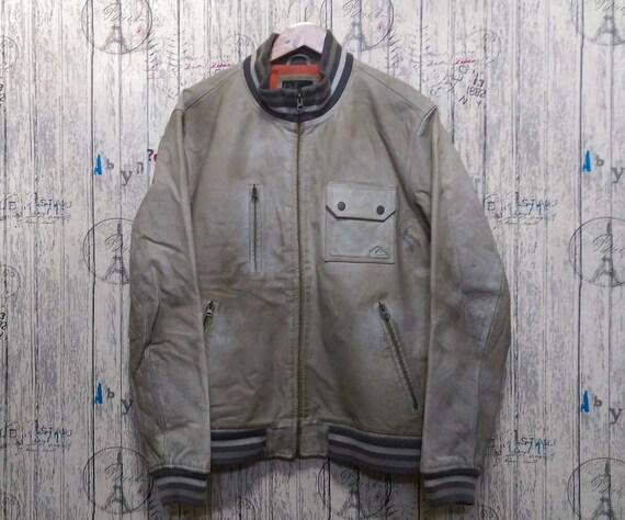 Vintage 90s Leather Quiksilver jacket men/ Vintage