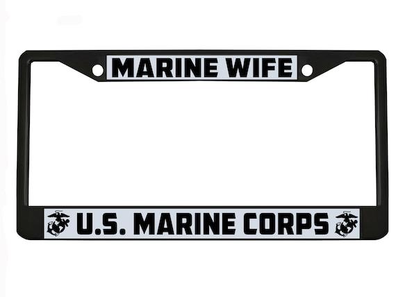U.S VETERAN USMC Military Metal Motorcycle License Plate Frame Tag