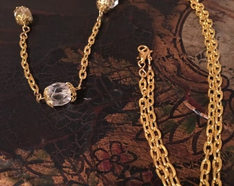131 Antique Gold Chain Adjustable Necklace with VintageTuscan Chandelier Drop Crystal Pendent from *Light by Luce di Lucca Collection.*