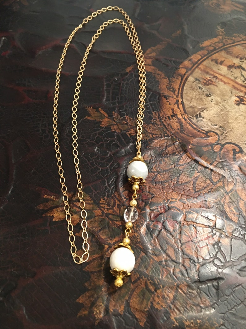 Necklace with VintageTuscan Chandelier Drop Crystal Pendant. 377 Gold /& Aqua Amazonite Lucciole aka:Firefly