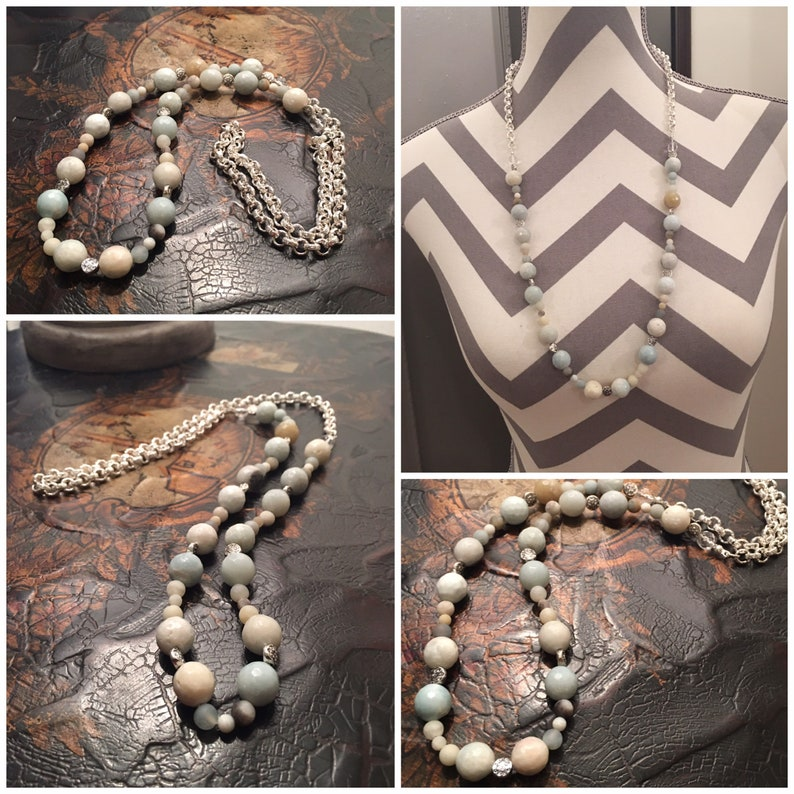 487 Thick Chain Silver /& Beaded Amazonite Necklace with VintageTuscan Chandelier Drop Crystals.