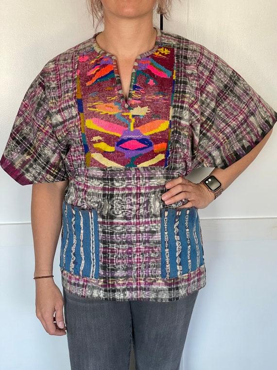 Vintage Guatemalan Embroidered Linen Poncho Smock… - image 1