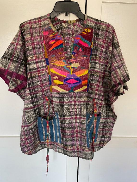 Vintage Guatemalan Embroidered Linen Poncho Smock… - image 4