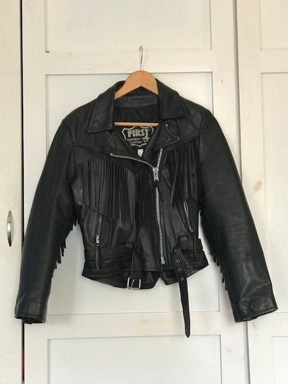 Vintage Fringe Leather Biker Jacket