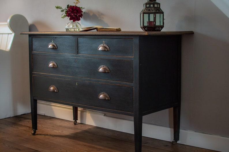 sports shoes 19f80 4503c SOLD***Hand painted small black chest of drawers