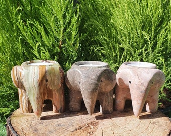 Marble Elephant Tea Light Holders,  Elephants,Candle Holders, Home Decor Gifts, Crystal Candles,Gifts, Marbleware, Hand Carved Gifts