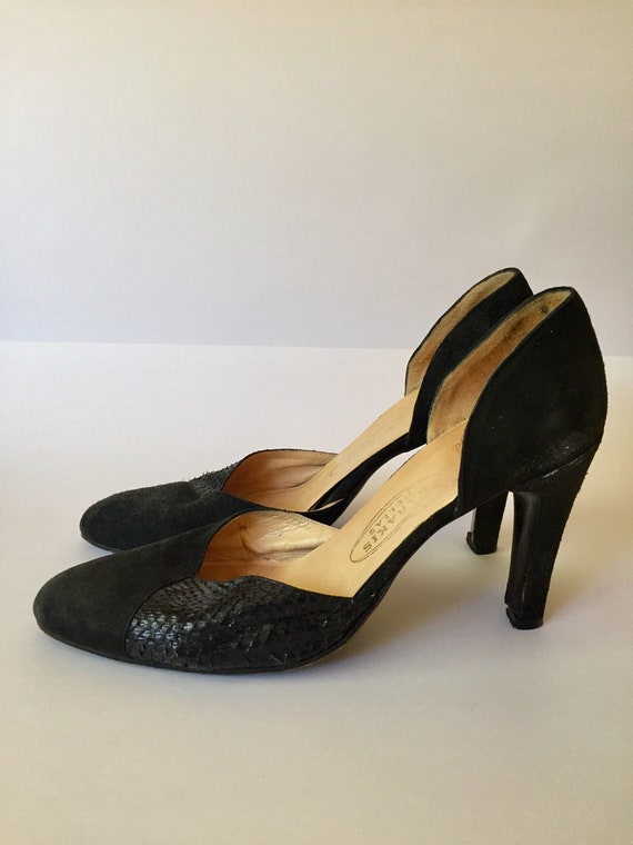 Suede with real snakeskin d'orsay pump,dressy shoe