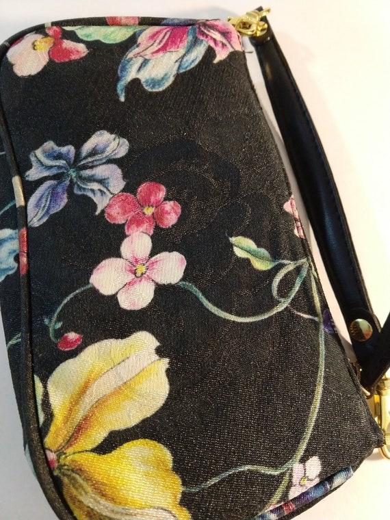 Vintage 100/% silk purse handbag floral design silk wristlet Cathaya digital printed silk Teflon protected