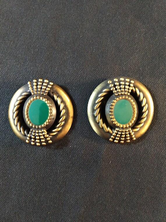 Enamel green earrings stud Flower earrings gold Large vintage 70s earrings