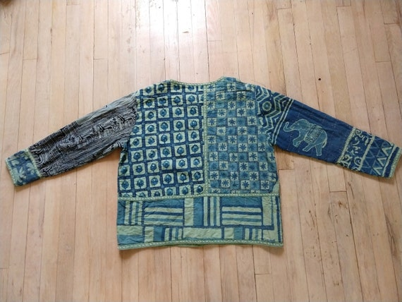 Blue quilted boxy jacket, 70s Asian inspired quilt