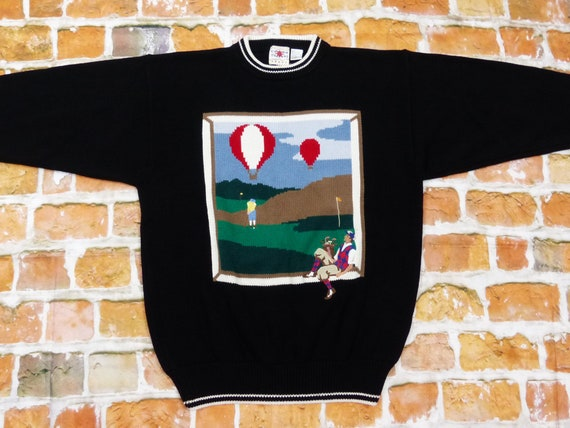 Cotton Traders Sweater Balloon Ride Golf Player