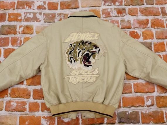 Avirex Usa Lederjacke Speed Tigers beige Panther