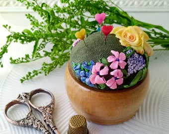 godmother gift embroidered flowers hand made pincushion Pin cushion handmade with roses embroidery best aunt gift sewing pincushion