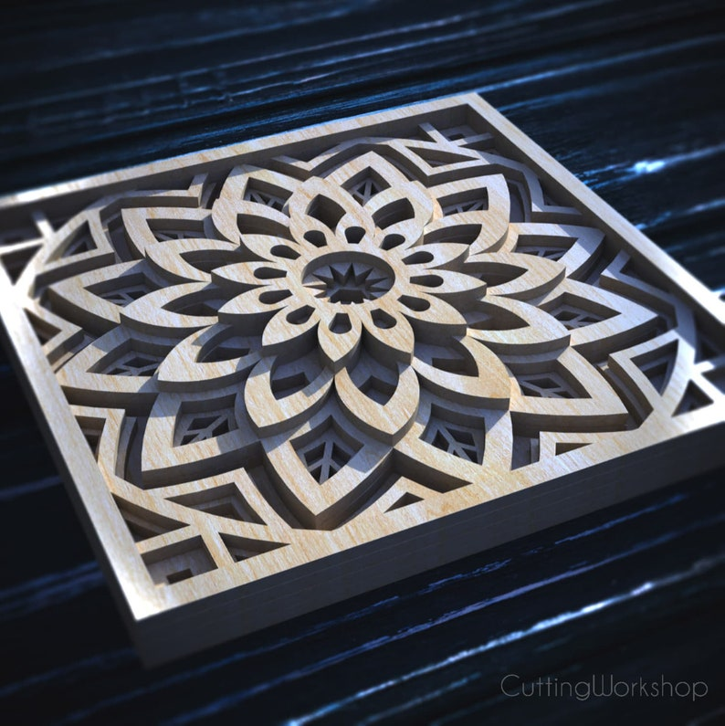 Laser cut  Mandala 3D Geometric digital files templates DXF SVG cdr ai eps pdf vector cricut patterns Scroll Saw Mandala Pattern