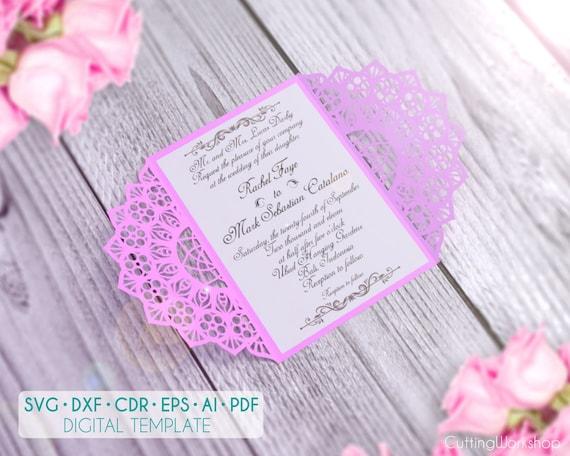 Wedding Invitation Card Template Cricut Svg Cutting File Laser Cut Gate Fold Card
