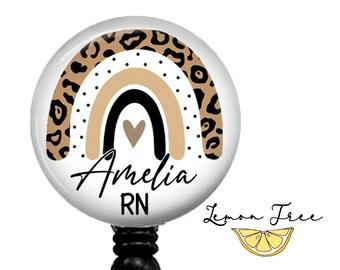 Pink Gold Glitter Leopard Animal Print Retractable Name Badge Holder  Steth Tag  Carabiner  Nurse Badge  ID Name Tag Badge Reel