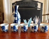 Vintage Japanese Stoneware Sake Set Blue Bamboo Design Set of 6 Retro Barware Man-cave PC014