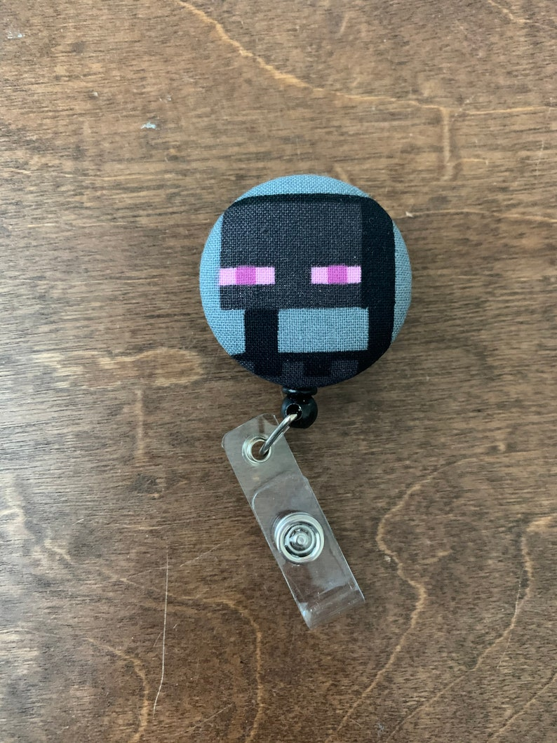Retractable Badge Reel Fabric ID Badge Holder Clip Minecraft Belt Swivel Clip Nurse Enderman Teacher