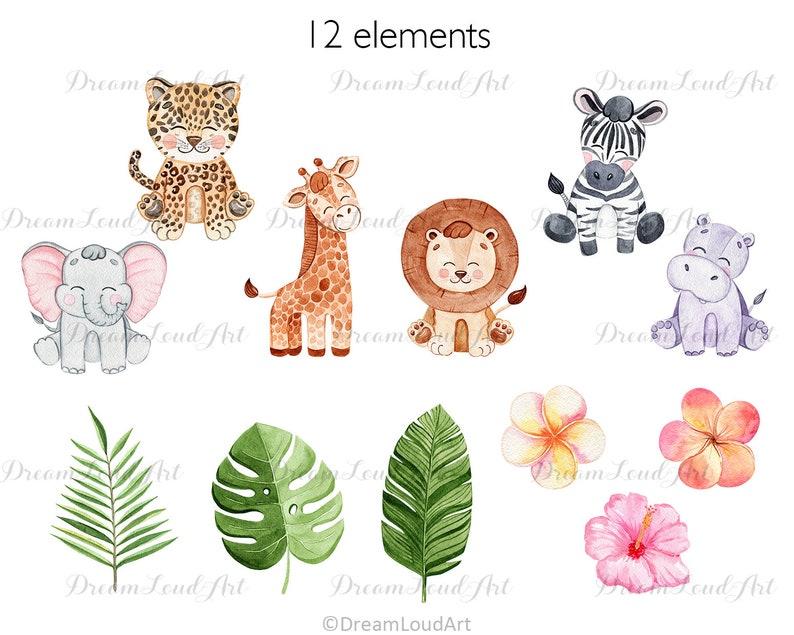 Safari Baby Animals Watercolor Clipart cute leopard lion digital download giraffe tropical flowers for nursery decor zebra