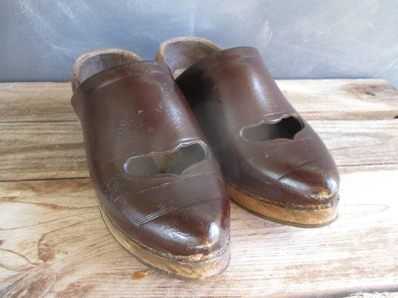 Pair of French clogs. Wooden clogs. French vintage