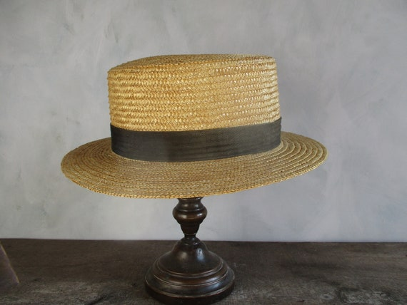 French straw boater. Boater hat. Boater. Vintage b