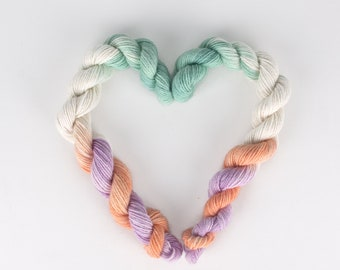 Orange Fingering Hand dyed yarn HDYTOV-S1 Turquoise Violet