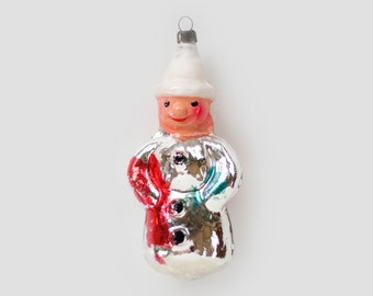Circus Clown Harlequin w Pipe AntiqueVintage RussianSoviet Blown Glass Christmas Clip On OrnamentBaubleDecoration