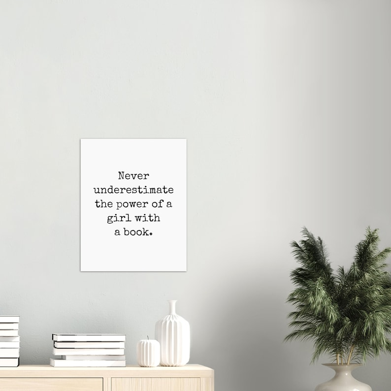 Ruth Bader Ginsburg Quote Never underestimate the power of a girl with a book Art Print Poster Wall Art