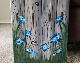 Landscape Acrylic Painting, Flower Painting, Wood Fence Painting, Canvas Artwork, Home Decor, Wall Art, Gift for Gardeners, Hand Painted