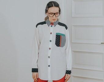 Bonita long sleeve shirt Retro 90's vintage blouse white rainbow buttons printed top XXL