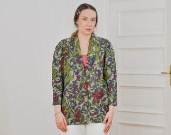 Boho blazer Vintage 80's floral patterned jacket green shoulder pads 3/4 sleeve viscose nylon oversized S/M