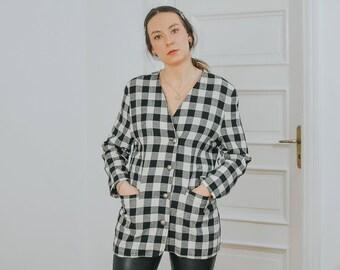 70's CORA Fashion Blazer Vintage Checkered jacket black white chessboard linen tartan retro L Large