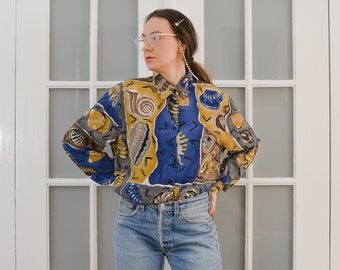Printed shirt Vintage 80's Retro blouse seashells abstract long sleeve patterned top button up down viscose XXL