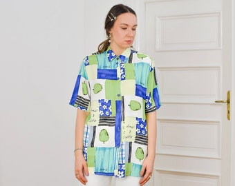 Green apple shirt Printed blouse 80's vintage Retro abstract blue short sleeve patterned top button up down viscose XL/XXL