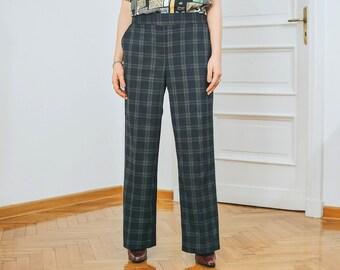 Checkered pants Vintage 80's trousers mod super high waist navy blue tartan straight fit leg elastic waist XXL/XXXL