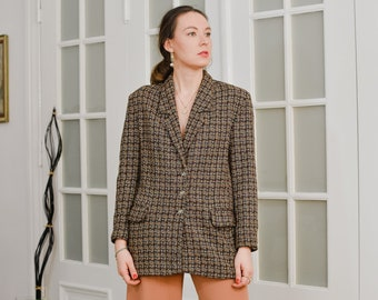 Tweed blazer Checkered Vintage 90's brown lined tail coat jacket retro XL