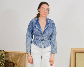 Acid wash denim jacket Vintage 80's/90's Weathered Blues jeans cropped fitted blazer tail coat stonewashed women M/L