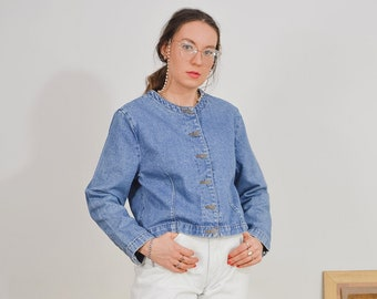 Denim blazer blue jacket Vintage 80's jeans women L/XL