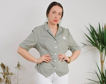 Polka dots shirt gray short sleeve Vintage 90s white dotted beige mod blouse Printed top button up down shoulder pads L/XL