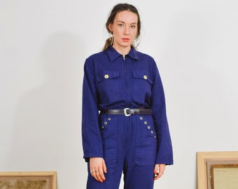 Navy Blue Coveralls Vintage 90's jumpsuit mechanic uniform one piece work suit flight L/XL