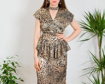 Leopard dress Vintage 80's party Disco retro mini metallic printed animal frill cocktail sexy gold black sleeveless S/M