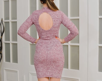 Bodycon mini dress Vintage party pink Turtle neck stretchy Disco 90's ribbed cocktail sexy keyhole long sleeve M/L